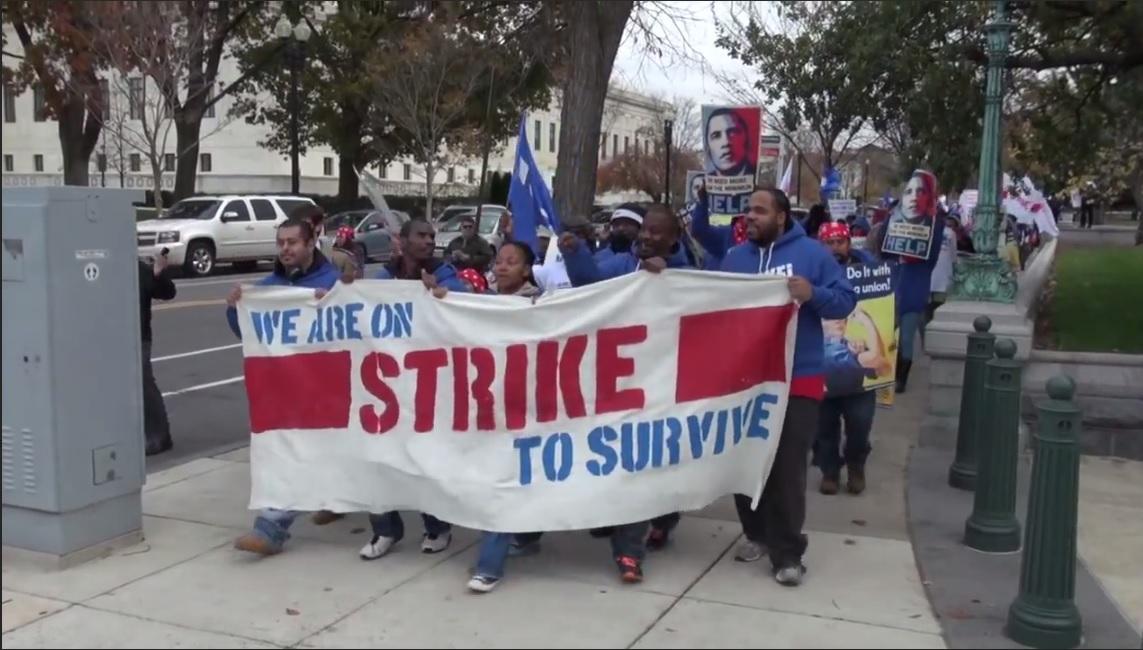 Trabajadores que limpian las oficinas o atienden la cafetería del Senado en D.C. demandan salario digno.
