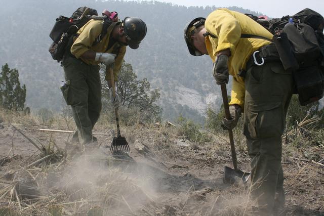 Batallan contra incendio forestal