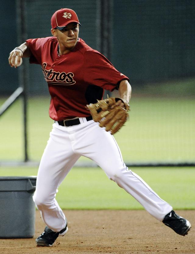 Carlos Correa practicó anteayer con el equipo grande de los Astros en Houston.
