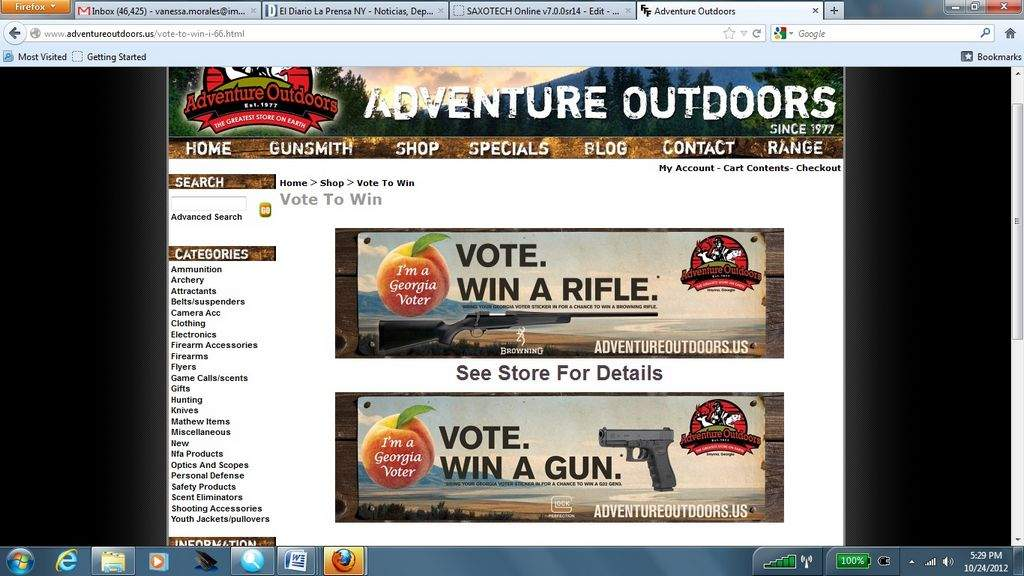 Tienda sortea un arma entre quienes voten en noviembre