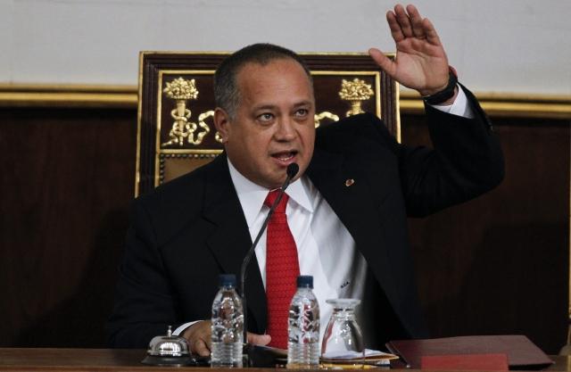 El presidente de la Asamblea Nacional, Diosdado Cabello, habla en la sede del Parlamento en Caracas.