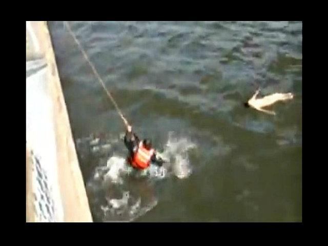 Rescate de película bajo el puente Manhattan (video)