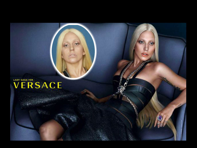 ¡Magia! El antes y el después de Lady Gaga en la campaña de Versace