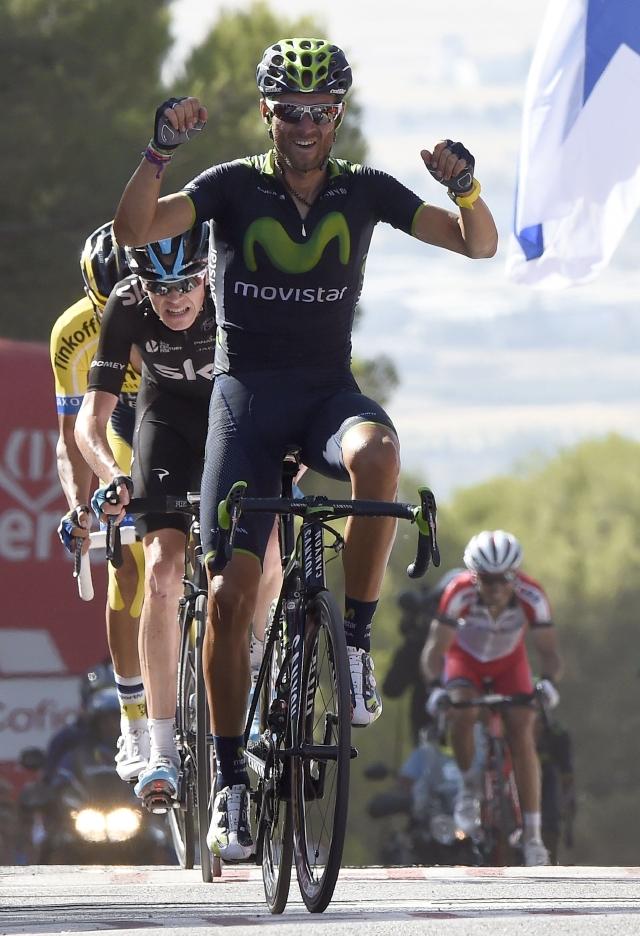 Valverde deja ver  su  poderío en la cuesta