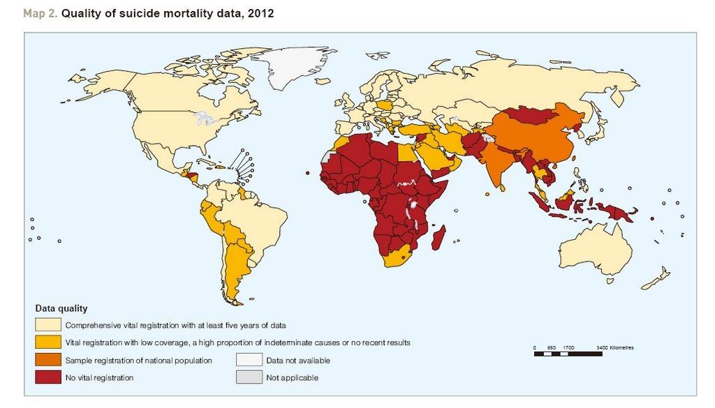 Presentan primer mapa mundial de suicidios