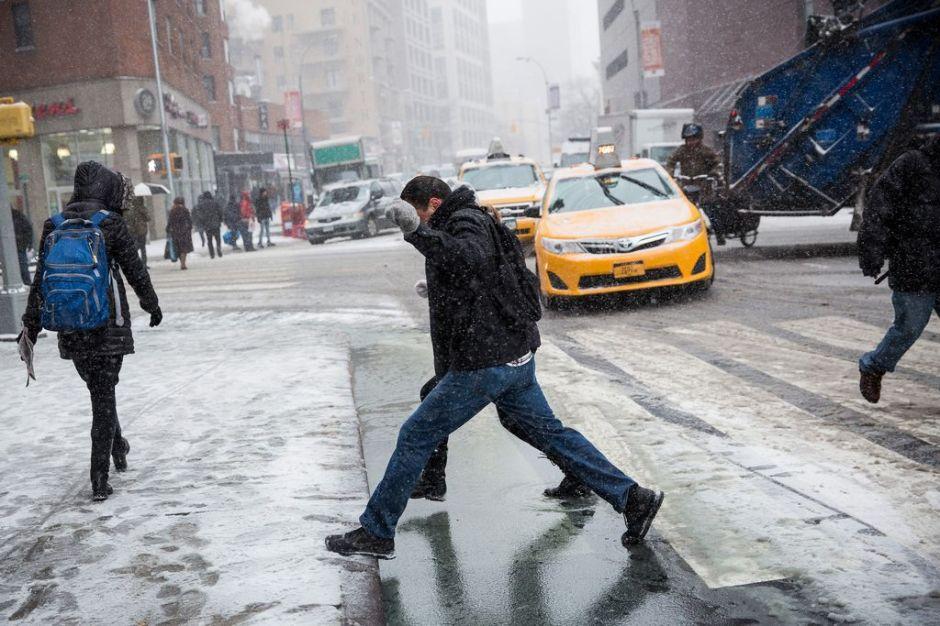 Nieve caerá en NYC hasta horas de la tarde