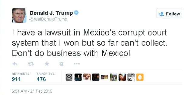 Donald Trump despotricó contra México por los Premios Oscar
