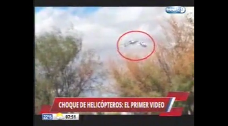 El video del choque de helicópteros en La Rioja, Argentina