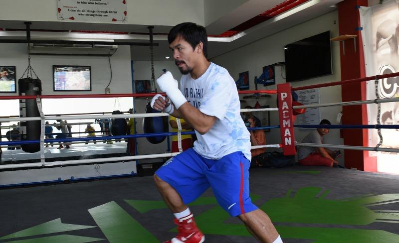 Manny Pacquiao se prepara para enfrentar a Timothy Bradley el próximo sábado 9 de abril.