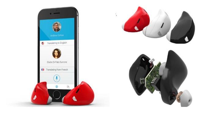 El aparato traductor viene con dos auriculares, uno para la persona y su interlocutor.