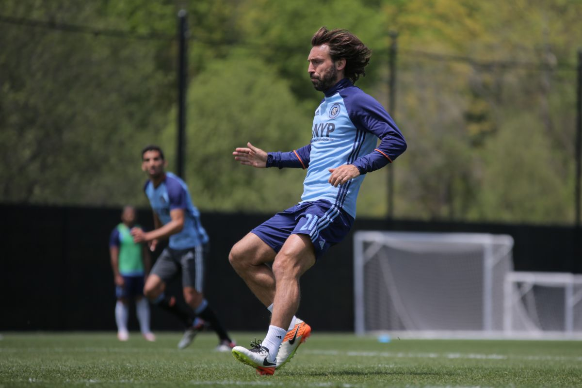 Andrea Pirlo durante un entrenamiento del NYCFC.