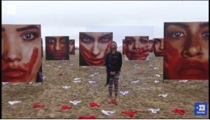Video: Colocan prendas íntimas en playa de Brasil en protesta por violaciones