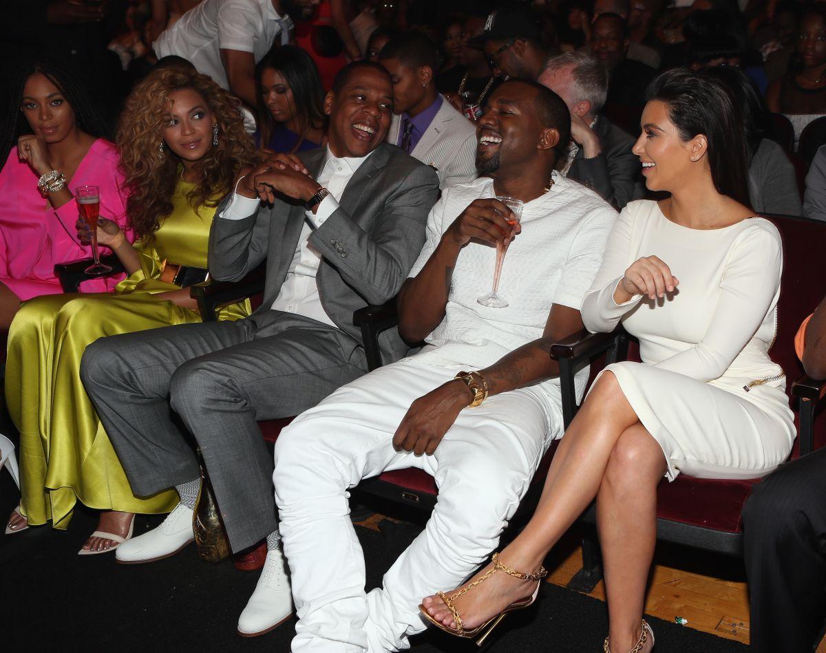 Beyoncé, JayZ, Kanye West y Kim Kardashian en los BET Awards 2012.