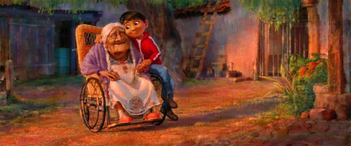 Coco, la bisabuela de Miguel, es una parte muy importante de la historia.