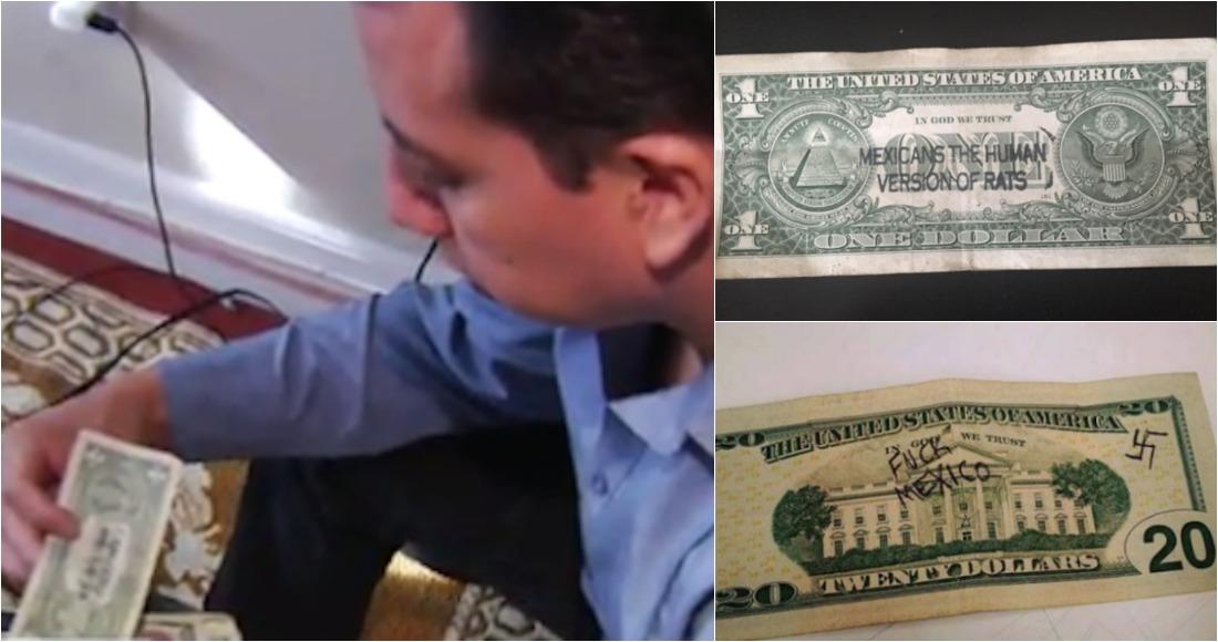 """José Juárez y Elena Blanco, quienes residen en San Diego, California, compartieron los billetes en los que se lee """"Mexicanos, la versión humana de las ratas"""" y """"Fuck Mexico"""" -algo parecido a """"Jode a México"""" o """"A la m***da México""""-."""