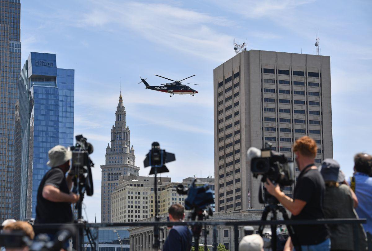 Trump es asiduo usuario de helicópteros, como lo hizo en Cleveland con su familia en julio pasado.
