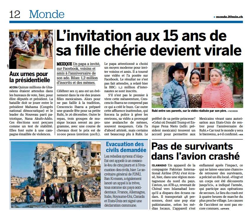 """El periódico sueco """"20 minutos"""" destacó la historia en su sección internacional."""