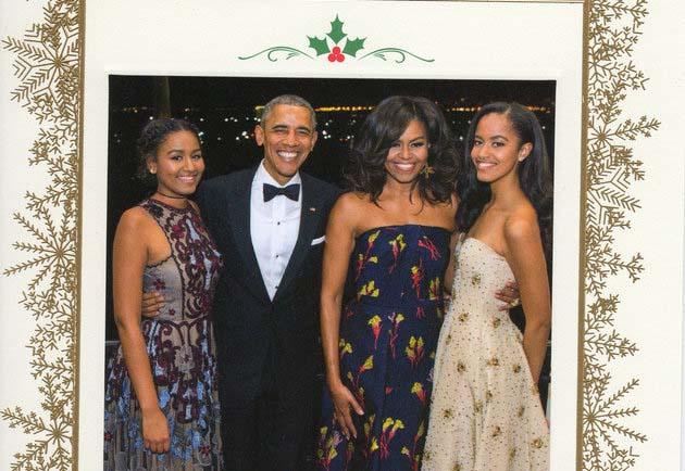 La tarjeta fue enviada a amigos, miembros de la prensa y simpatizantes de Obama.