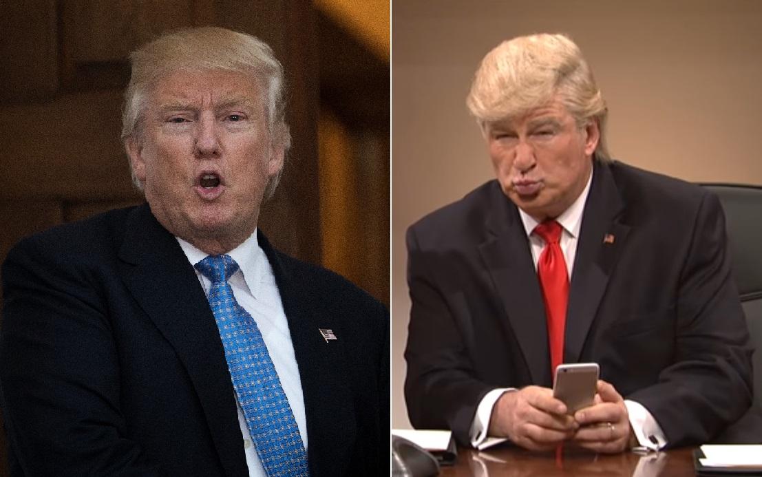El presidente electo Donald Trump y el actor Alec Baldwin.
