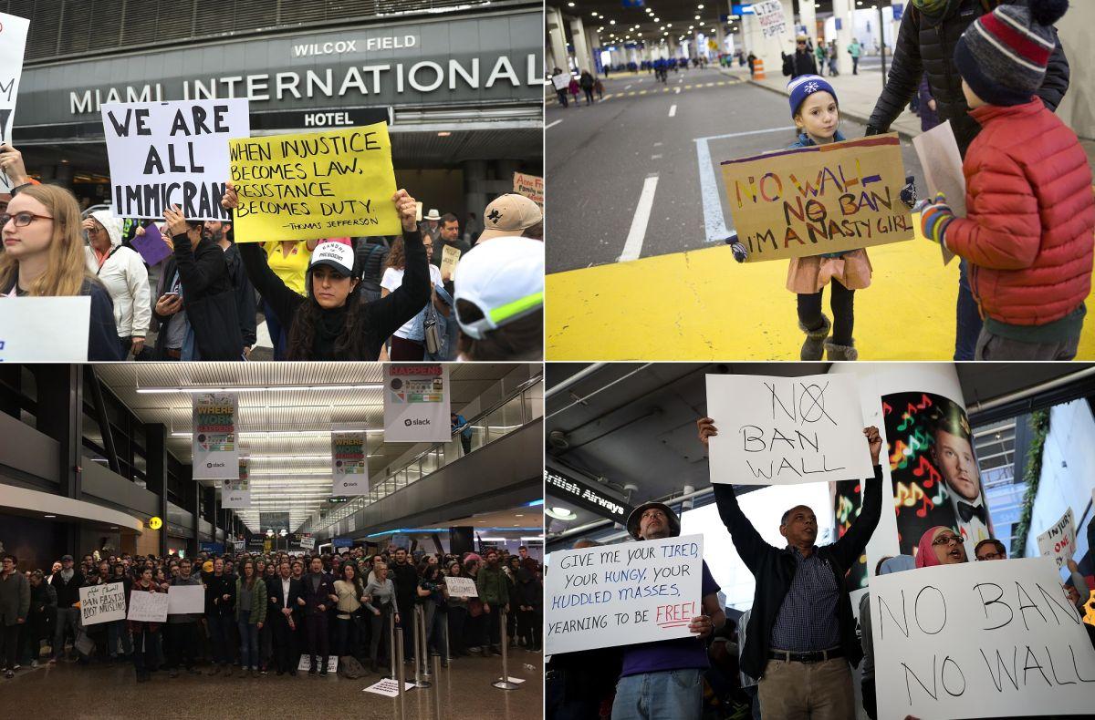Protestan miles en aeropuertos de EEUU contra veto de Trump a musulmanes