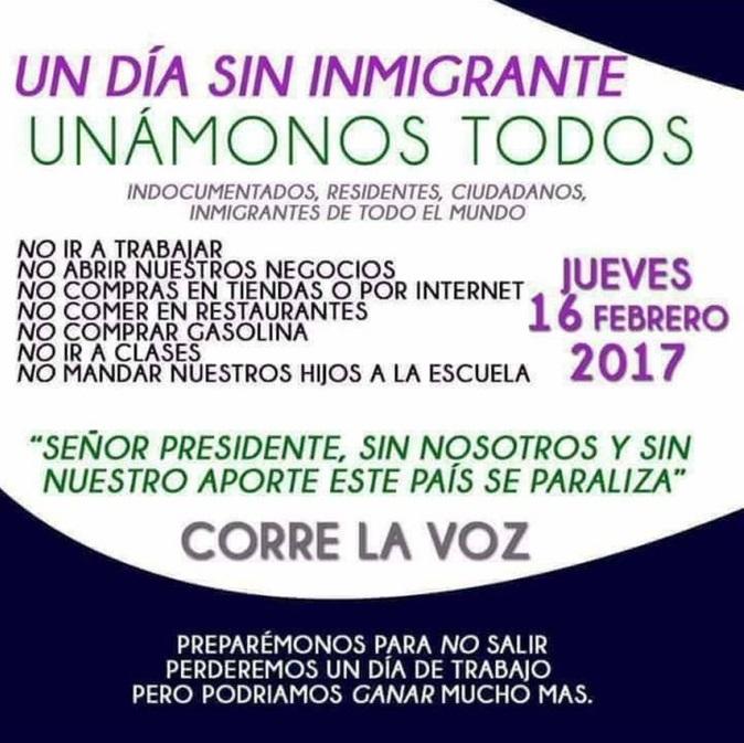"""Crece convocatoria """"Un Día Sin Inmigrantes"""" en EEUU para el 16 de febrero"""