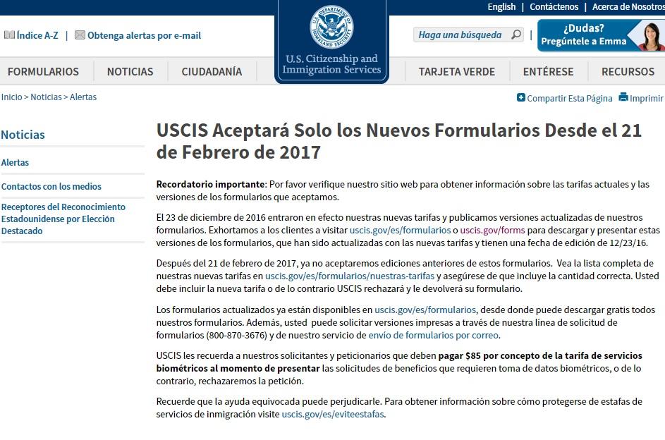 USCIS alerta por cambios en formas migratorias a partir del 21 febrero