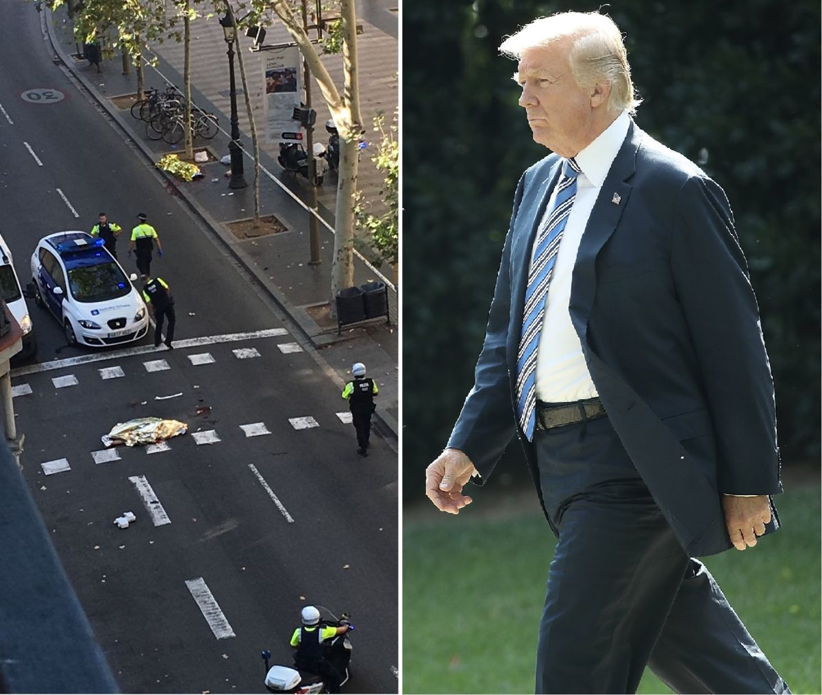 El presidente Trump lamentó los hechos en España que dejaron al menos 13 muertos y más de 50 heridos.
