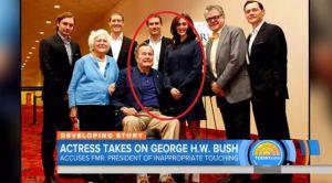 "Expresidente H.W. Bush se disculpa por ""toquetear"" a actriz frente a su esposa"