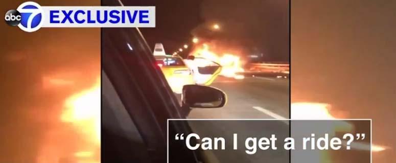 VIDEO: Deja morir calcinada a chica con la que salía y huye en un taxi