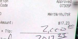 El cliente que pagó una cuenta de $17 dólares y dejó $2,000 de propina