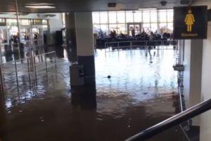 Desalojan aeropuerto JFK por tubería rota que inundó Terminal 4