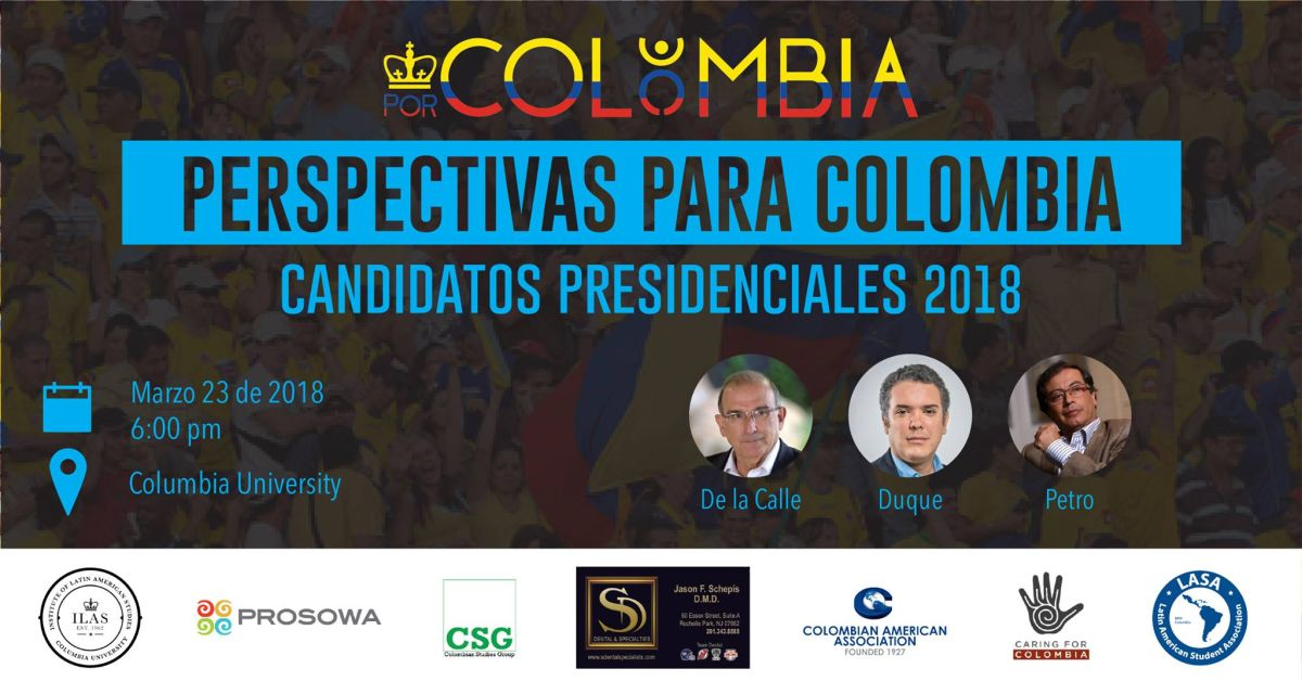 Candidatos a la presidencia de Colombia tendrán un debate en la universidad de Columbia
