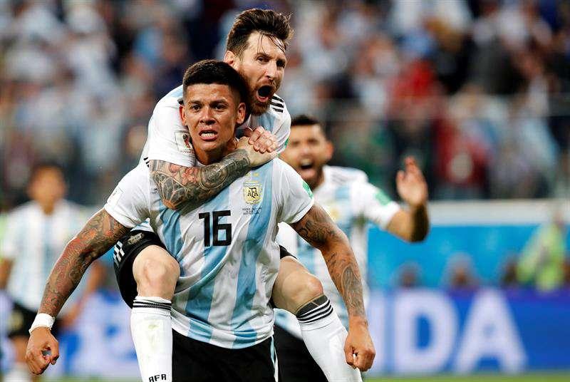 Golazo de Marcos Rojo instala a Argentina en octavos de final