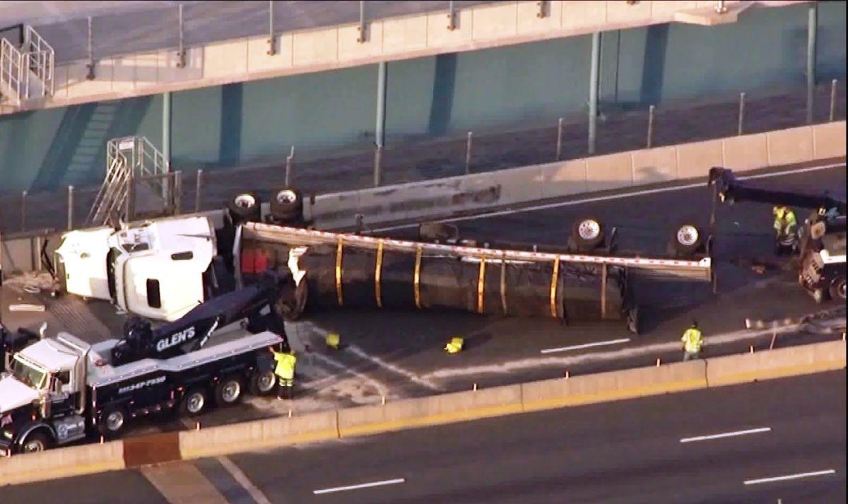 Volcamiento de camión bloquea puente Mario Cuomo hacia Westchester
