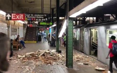 Colapsa techo en andén del Subway en Brooklyn