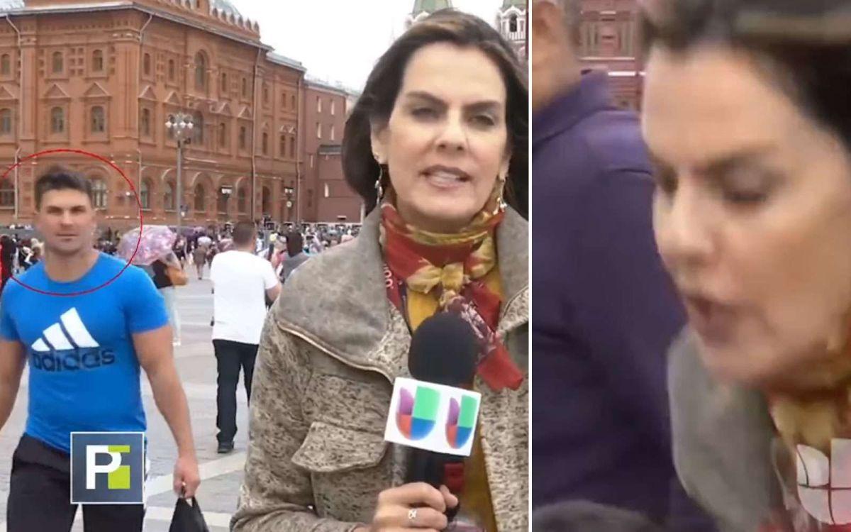 Sujeto se abalanza en plena transmisión sobre reportera de Univision para tocar su parte íntima