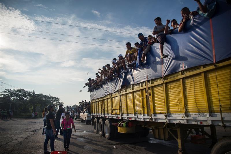 La caravana de migrantes en Oaxaca, México.