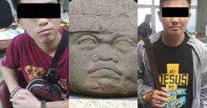 Detienen a dos extranjeros por dañar esculturas olmecas en Tabasco