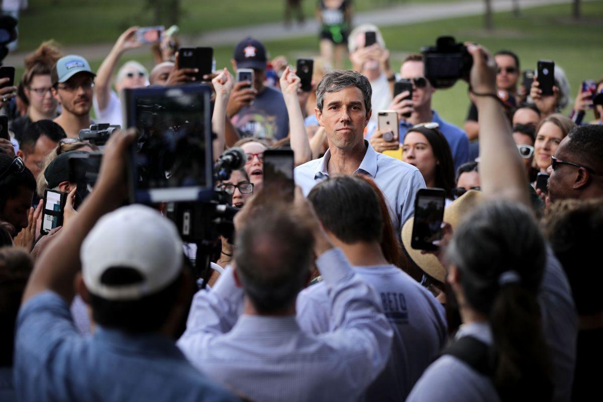Beto O'Rourke durante un acto de campaña en Houston, Texas.