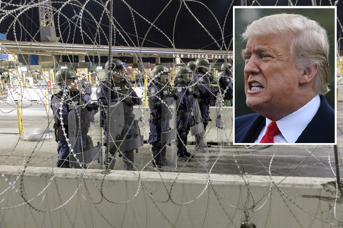 Trump advierte a caravana migrante que Patrulla Fronteriza coloca alambre de púas
