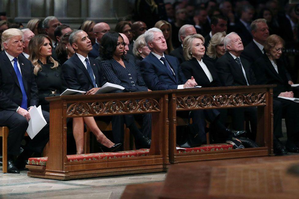 Funeral de George H. W. Bush: las tensiones detrás de la histórica foto de cuatro presidentes de EEUU juntos