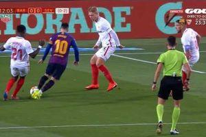 Messi cayó en el área del Sevilla y la polémica es impresionante ¿Fue penalti o no?