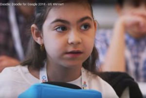 Niña de 7 años ilustra la página principal de Google con su dinosaurio