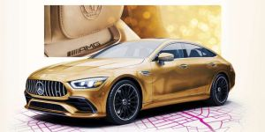 Para los Oscars, Mercedez-Benz baña su modelo AMG GT en color dorado
