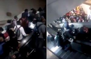 Video del momento del caos tras colapsar escaleras del Metro en México