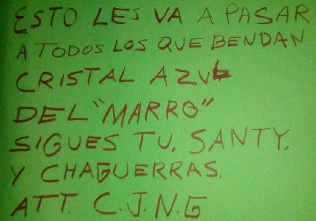 """CJNG amenaza con matar a compinches de """"El Marro"""" que """"vendan su cristal azul"""" en Guanajuato"""