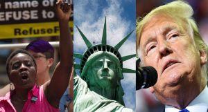Inmigrante trepa la Estatua de la Libertad para protestar políticas de Trump. Ahora paga el precio