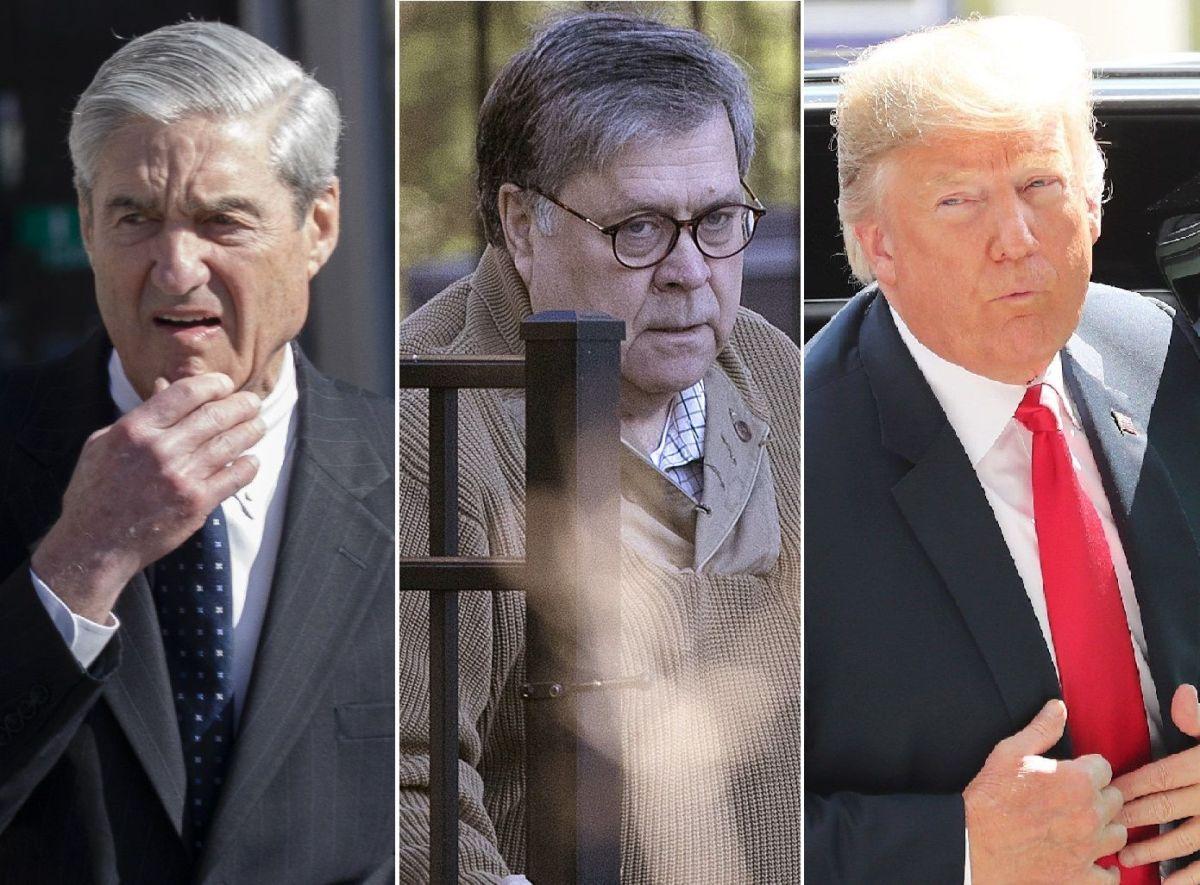 El fiscal especial Robert Mueller, el fiscal general William Barr y el presidente Donald Trump.