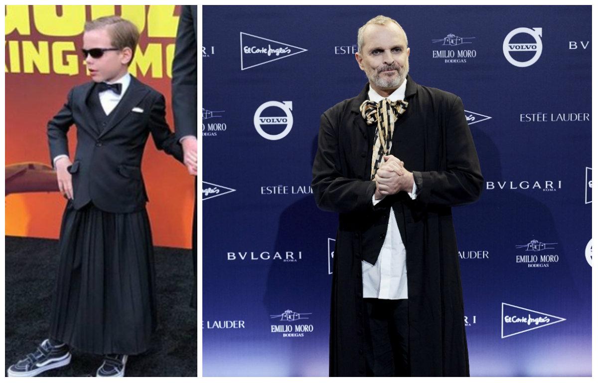 Miguel Bosé vistió a sus hijos con faldas en una alfombra roja y desató los comentarios