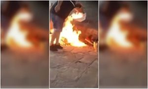 El crudo momento en el que un hombre prende fuego a dos inmigrantes venezolanos en Buenos Aires